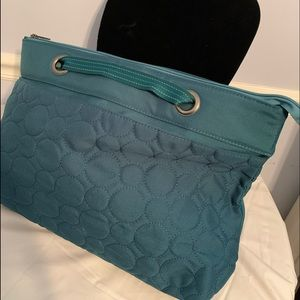 Thirty One tealish colored tote solid pattern